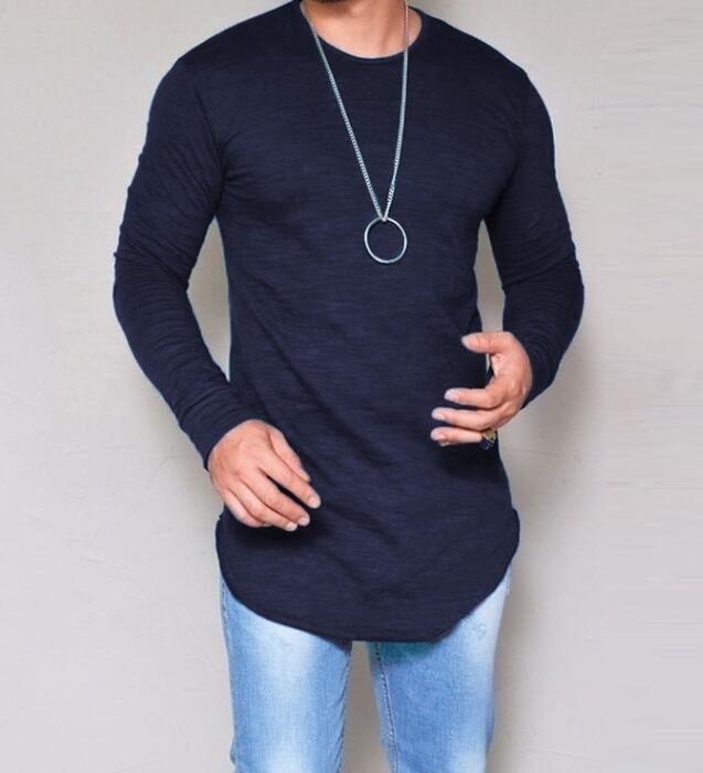 2021 Venta caliente camiseta casual de manga larga cuello redondo camiseta delgada moda moda color sólido camiseta hombres