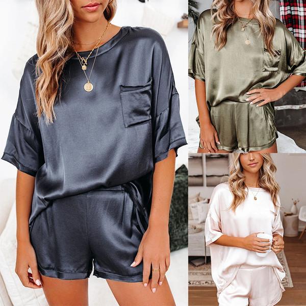Весна и летние женщины домашняя одежда твердые шелковые пижамы дома носить с короткими рукавами шорты нерегулярные две части наборы мода повседневный костюм