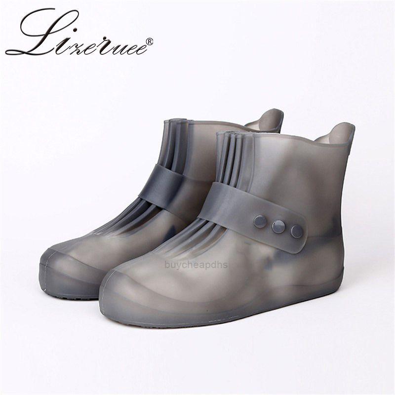 Lizeruee PVC Reausable Rain Водонепроницаемые сапоги Охватывает Унисекс Антисексные Упругие Обувь Обувь Accessorie XH198B
