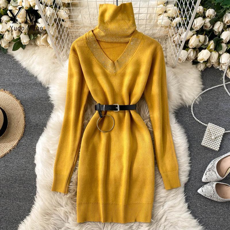 Casual Dresses Yuoomuoo Gute Qualität Pullover Kleid 2021 Winter Perlen Turtscheck Aushöhlen Strickkoreanisch Short mit Gürtel