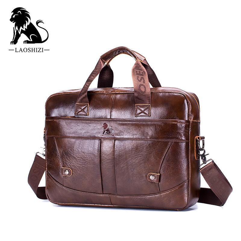 HBP Genuine leather vintage men's business Briefcase fashion messenger bags for man shoulder bag postman male Handbags big computer Q0112