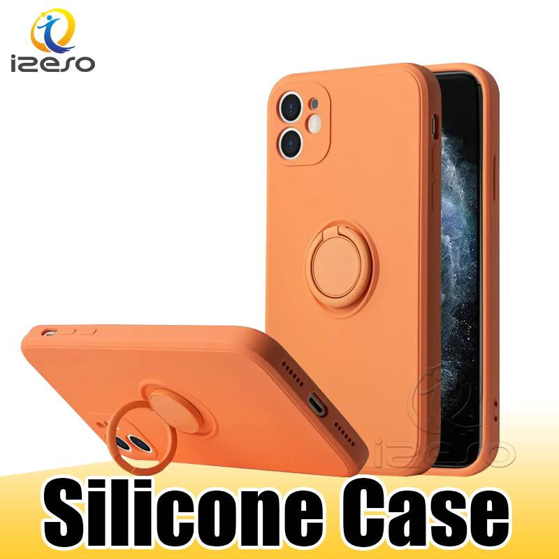 Silicone Case for MOTO G9 Plus E6S Samsung S20 FE S10 Plus A51 5G A31 M31S Ring Holder Shockproof Mobile Phone Cover izeso