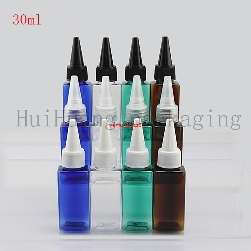 50pcs 30ml Empty Liquid Plastic Container With Pointed Mouth Cap,Lotion square Bottles Screw Cap,Cosmetic Packaginggood package