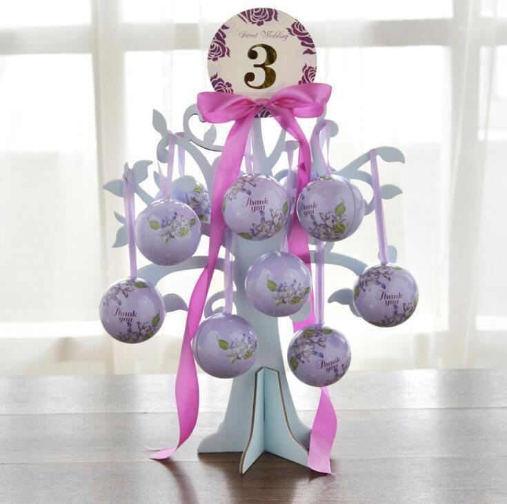 Scatola di caramelle di nozze Amore albero + palle + carta nastro set set di partito evento forniture in metallo matrimonio box1