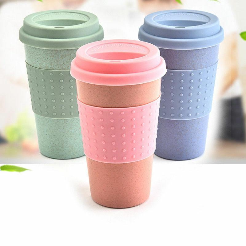Taza de taza de té de café reutilizable Taza de viaje de paja de trigo con tapa de la taza de silicona