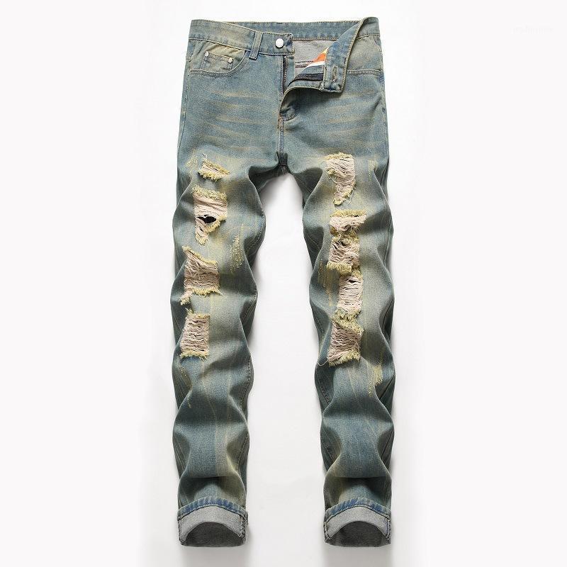 Jeans para hombre 2021 Hombres de alta calidad Hombres casuales Slim Straight Pleated Pantalones Pantalones de Denim Masculina Mens Tamaño 421