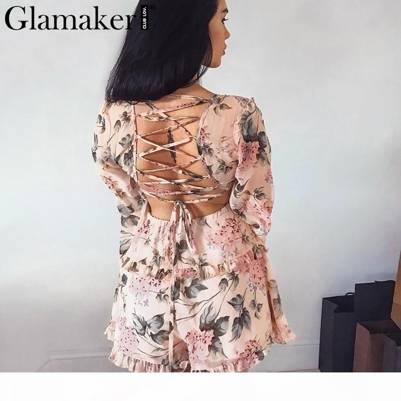 Glamaker Backless Chiffon V Pescoço Curto Jumpsuit Mulheres Lace Up Ruffles Praia Playsuit Feminino Elegante Verão Partido Romper Macacão Y190502