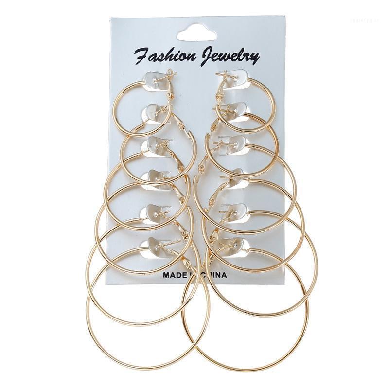 Hoop Huggie Ornament Дизайн 6 Пара / Набор Преувеличенный круг Серьги1