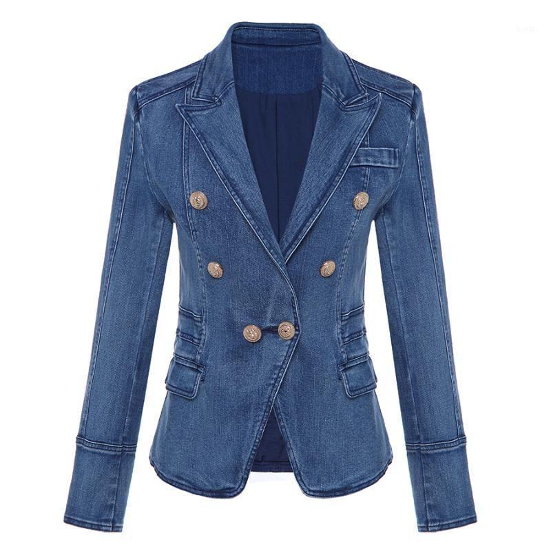 Женские костюмы Blazers Высококачественные моды дизайнер Blazer женские металлические кнопки льва двойной грубости джинсовая куртка наружный парусник