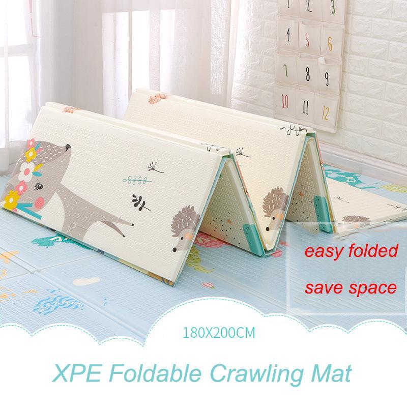 Xpe Mat 1 cm Kalınlığı Karikatür Pad Çocuk Oyun Mat Katlanabilir Anti-Skid Halı Çocuk Oyun Mat 180x200 cm Q1120