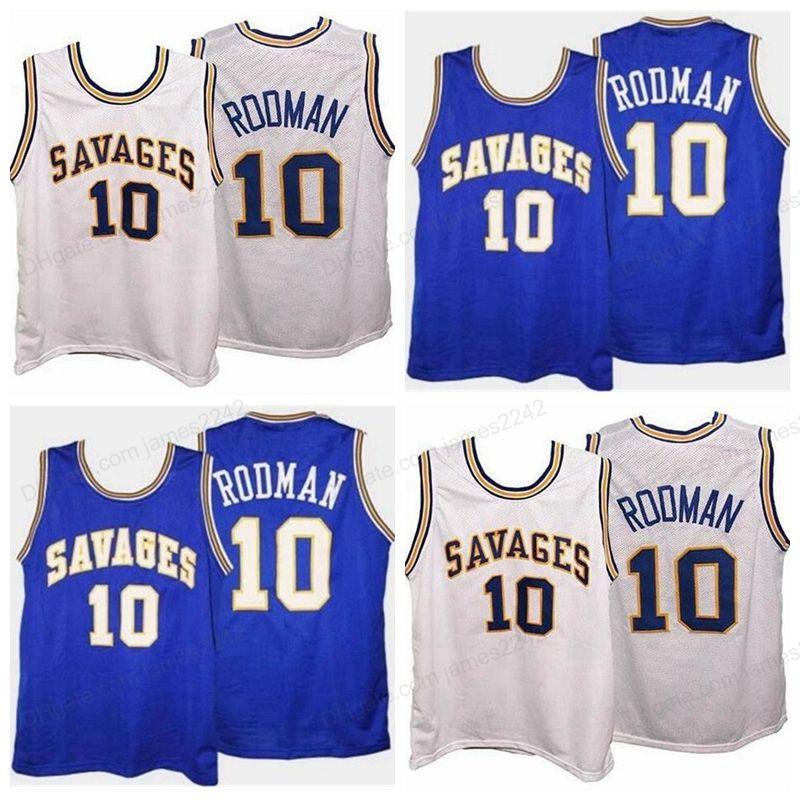 Benutzerdefinierte Retro Dennis Rodman # 10 College Basketball Jersey Männer genäht Weiß Blau Jede Größe 2xs-5XL Name und Nummer