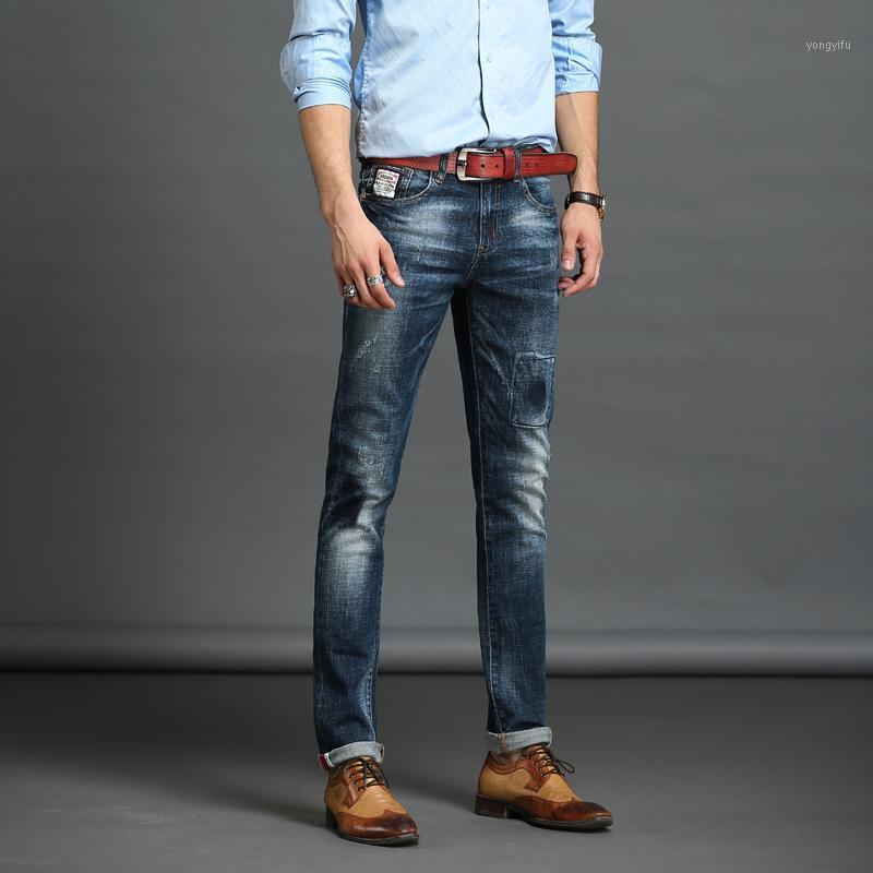 Повседневная твердая джинсовые джинсы Средние талии Брюки мужской молнии Джинсы мужские джинсы Новый бренд Длинные брюки Slim Straight1