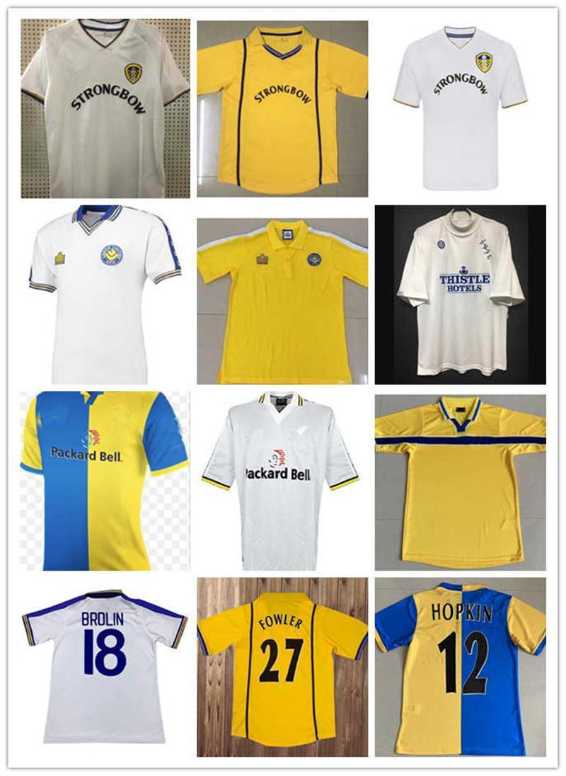 Vintage Classic Home Hopkin Hasselbaink Kewell Football Hemden Leeds Retro Fussball Jerseys 2000 2201 1997 1998 1999 2000 1978
