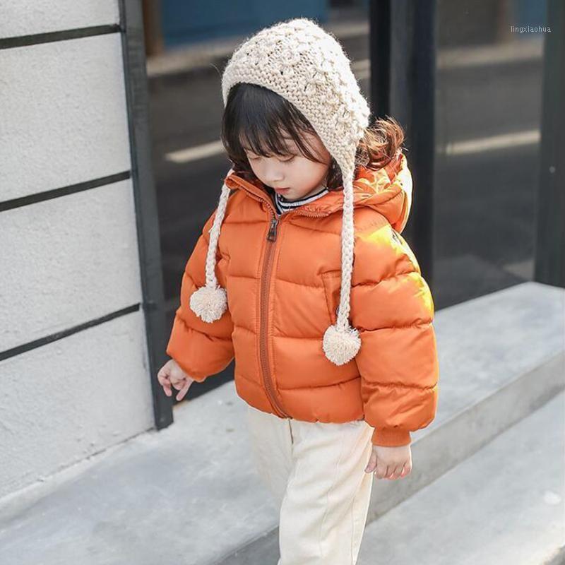 Kisbini зимняя девочка мальчик пальто куртка хлопчатобумажная мода с капюшоном толстым теплым пульсовой одеждой комбинезон для детей детская одежда1