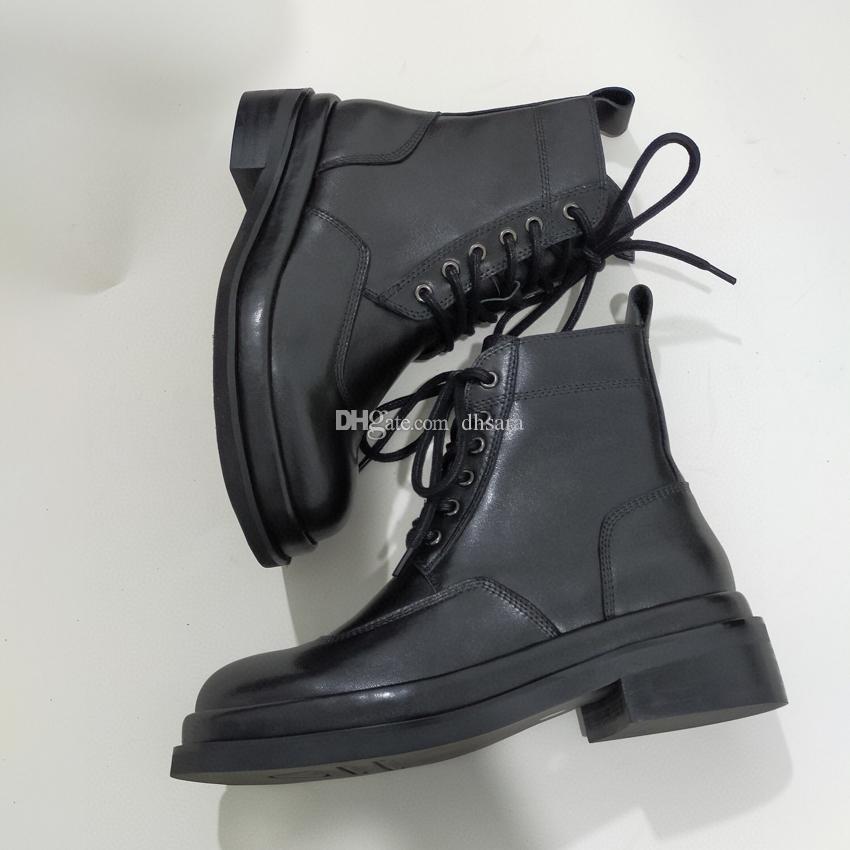 2020 New Martin Boots 100% bovina scarpe da donna scarpe classiche tacchi bassi scarpe in vera pelle stivali da donna scarponi da donna 35-40 nero con scatola
