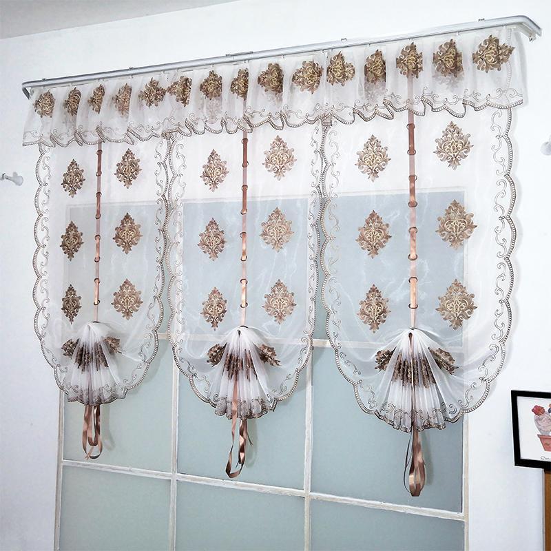 Rideau de tulle brodé de luxe moderne pour chambre à coucher salon stores romains Sheer Home Décoration LJ201224