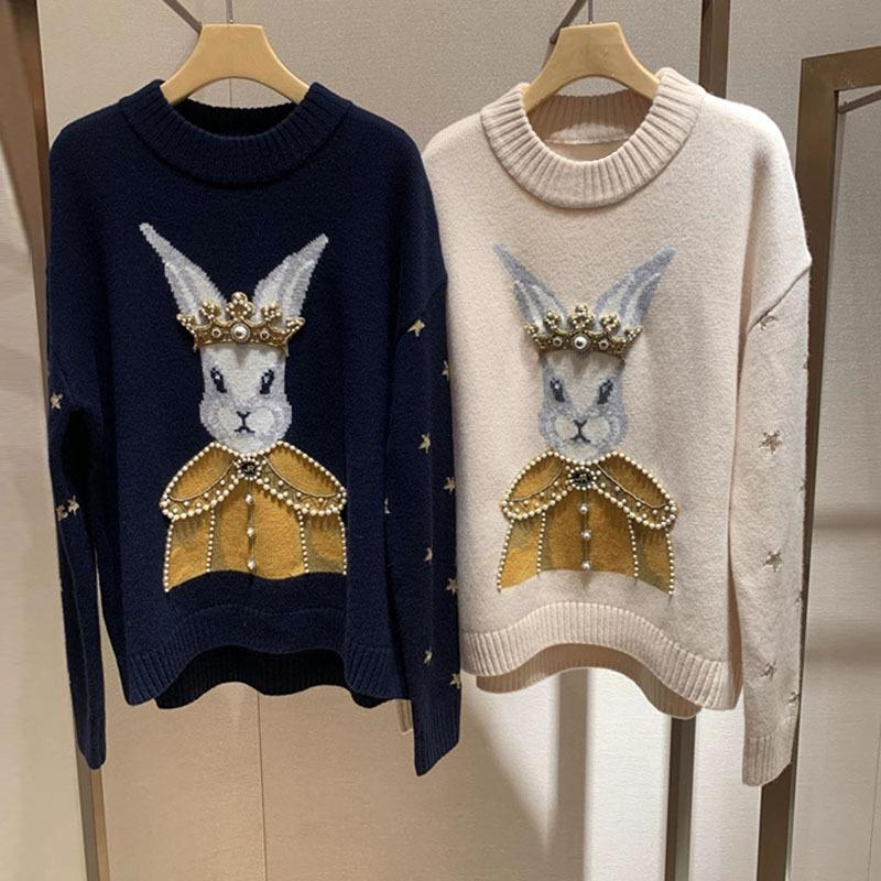 1210 2021 Primavera Envío gratis suéter de manga larga Beads de alta calidad Cuello de la tripulación Bordado de la moda de prom PROM de moda de lujo Ropa para mujer Qian