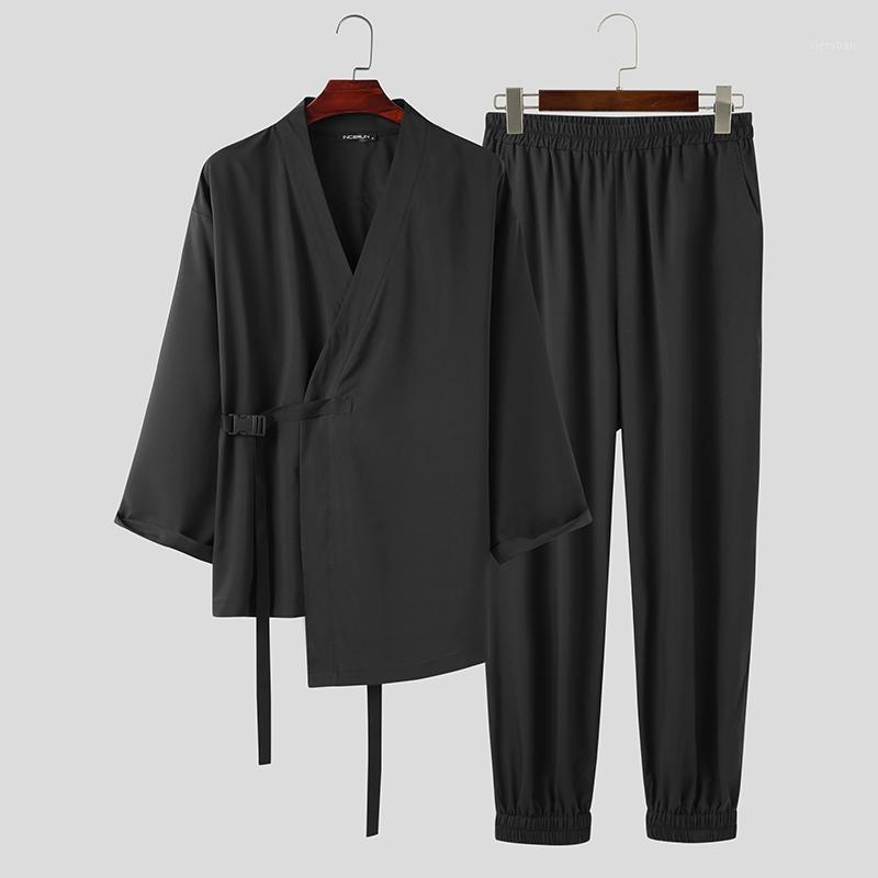 Hombres conjuntos de color sólido incerun manga larga con cuello en V cuello kimono tapas de cintura elástica 2 piezas hombre vintage encaje encima del traje Streetwear 5xl1