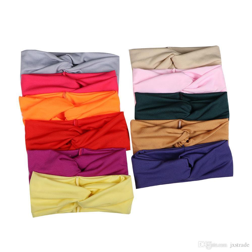 Criss Cross Headband Solide Farbe Elastische Sport Yoga Wide Stirnbänder Frauen Süße Haarreifen Mode Geschenk