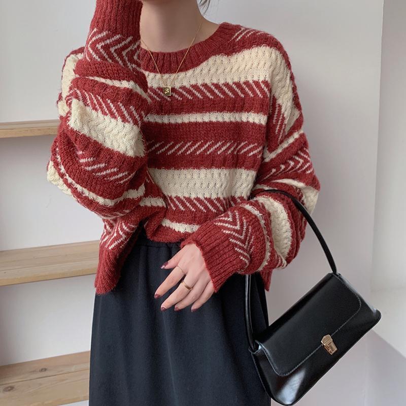 AIBEAUTYER Winter Harajuku Weihnachten Pullover Lässige Streetwear Stratwarbe O Neckrohrer Gestreifte Strickfrauen Pullover