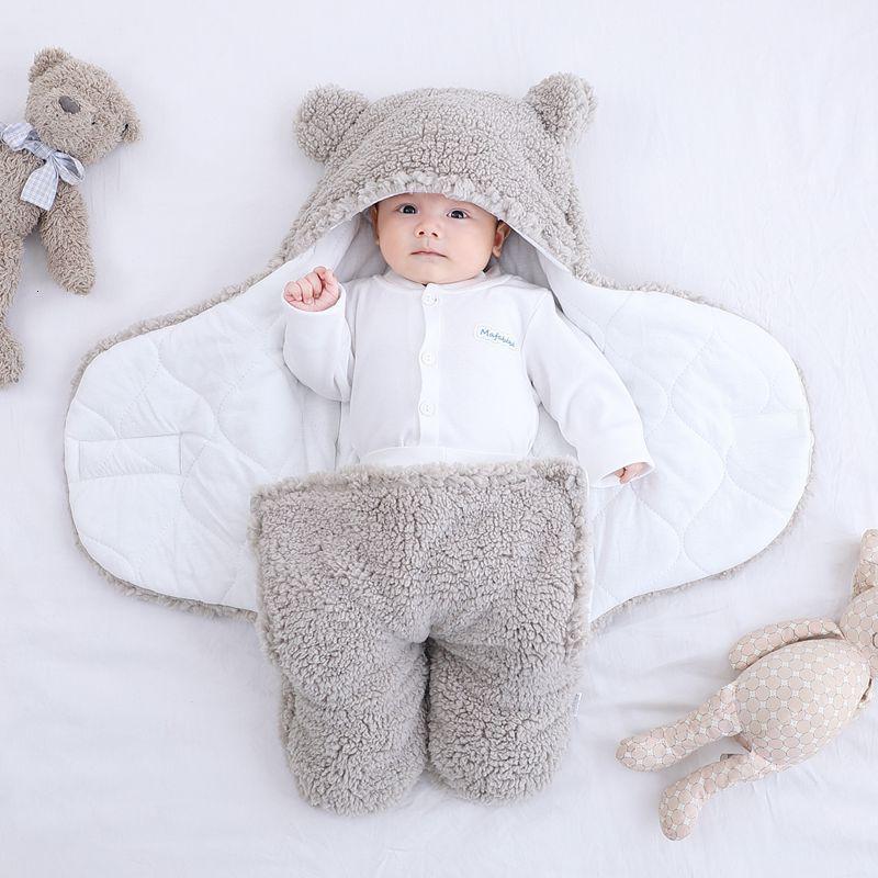Bambino Bambino inverno Biancheria da letto per pelo neonato Soft Peluche Coperta Cute Bear Swaddle Involucro Borse per bambini con gambe divise per mamma 6N44
