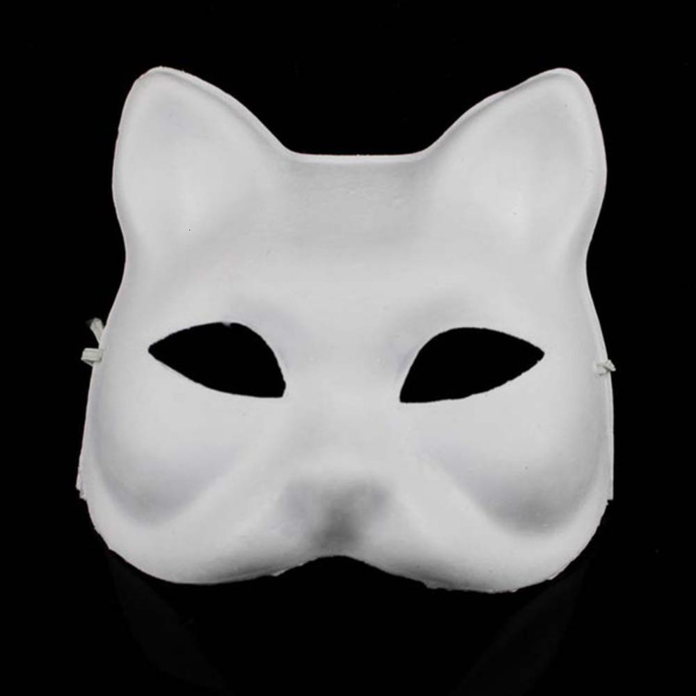 Ambiental DIY Papel en blanco Sin pintar en blanco Cat Máscaras Pulp Plain Mascarada Maldas Mascaras Pintura Mano Pintura Fine Art