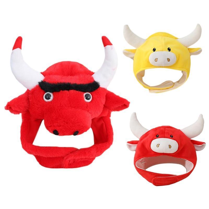 Reizende Karikatur-Kuh-Tier-Plüsch-Hut-Winter-warme Kopfbedeckung Mütze 3D Ohren Hörner Lustige Gefüllte Kopfbedeckung Kostüm-Partei-Foto Props
