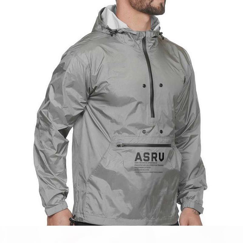 2020 asrv hommes sweat sweat sweat-shirt lâche Nouveau automne réfléchissant manches longues de plein air Sports en plein air Fitness Windbreaker Sweat à capuche