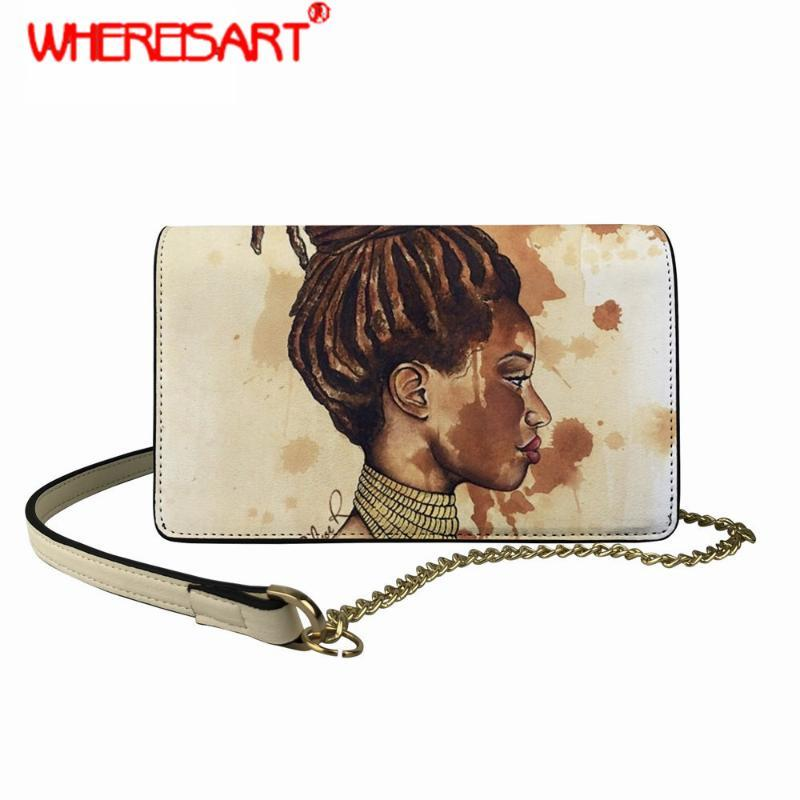 Für Afro Queen Quality Art Sling Black Bag High Muster Crossbody Square Umhängetasche Frauen Worbekette Mädchen Frauen Kette Uuuvqt