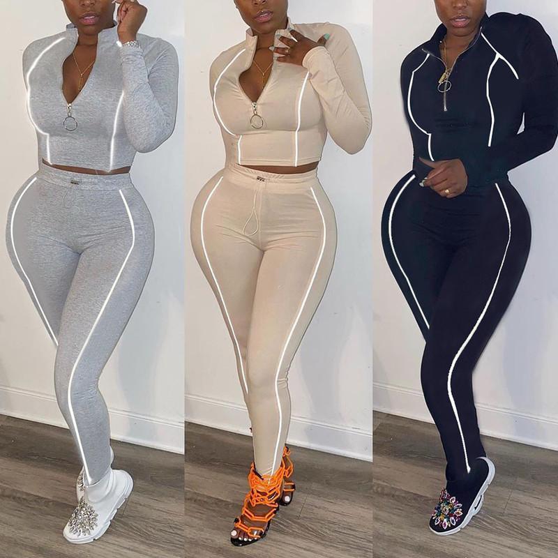 Tute da donna Autunno Autunno Inverno 2 pezzi Set fitness Tracksuit Donne Manica lunga con cerniera Cropper Top + Leggings Riflettente Sportswear Sportswear