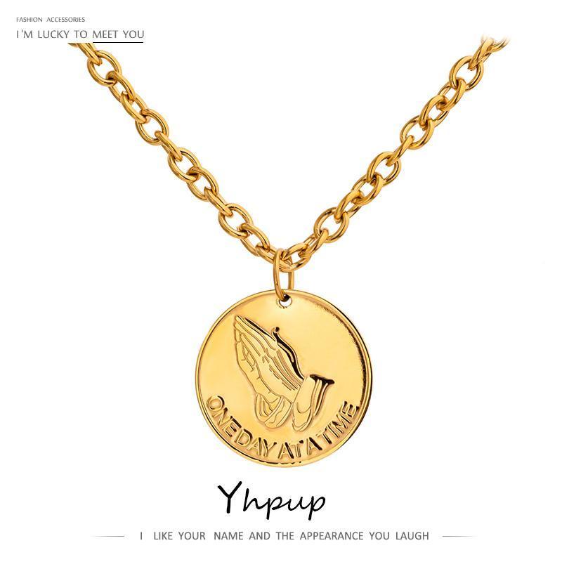 YHPUP 2020 Cadena de suéter de acero inoxidable de acero inoxidable Hip Hop Colgante colgante collar de joyería Invierno Oro Color Metal Gargantilla Collar