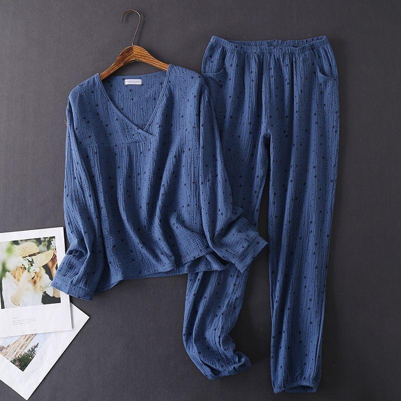 Japon tarzı ilkbahar ve sonbahar kadın% 100% pamuk krep uzun kollu pantolon pijama rahat ev giyim pijama seti kadın w1225