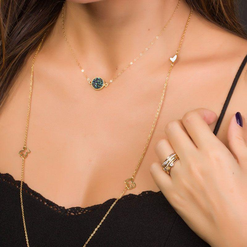 5 Beautynew Design Resine Ожерелья Druzy Цвета Позолоченные Геометрия Камень Ожерелье Для Элегантных Женщин Девушки Мода Ювелирные Изделия