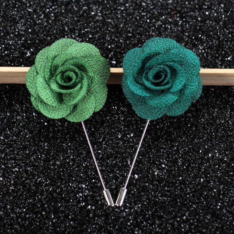 Hot Lapel Flower Man Woman Camellia Handmade Boutonniere Stick Brooch Pin Men's Accessories 22 Colors 100 pcs