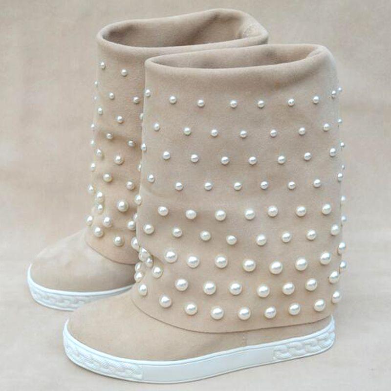 Frizzy White Autumn Pearls Mid-becerro para las mujeres que aumentan botas de altura MDQP