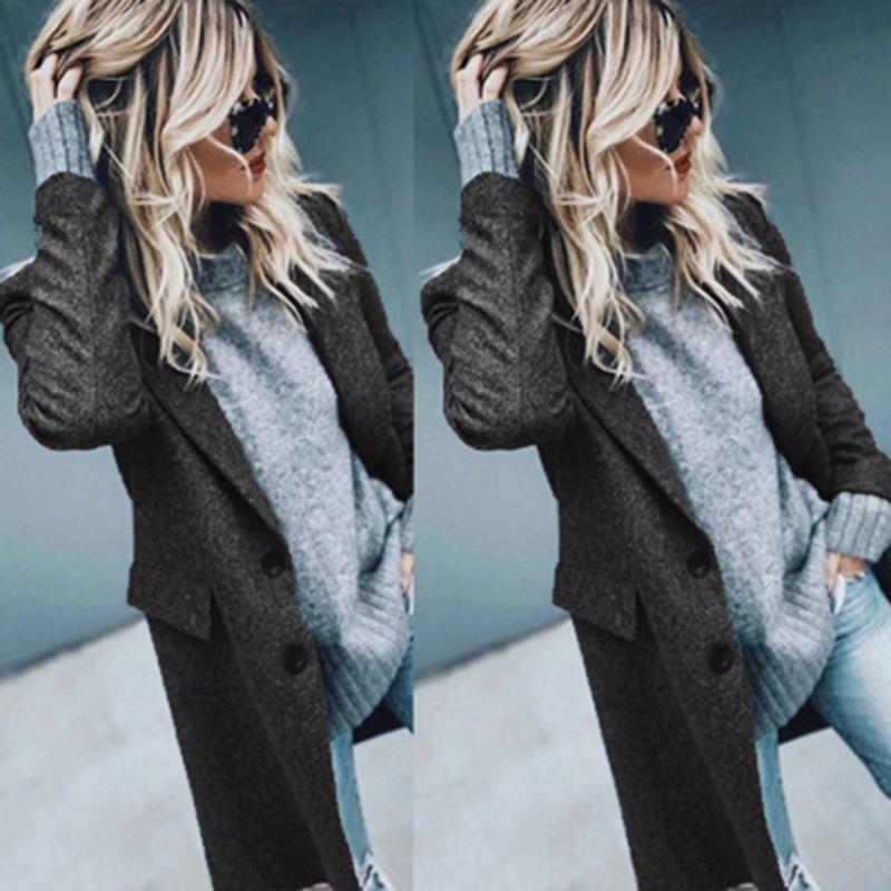 Cappotto per maglione in lana a maniche lunghe per donna autunno e inverno