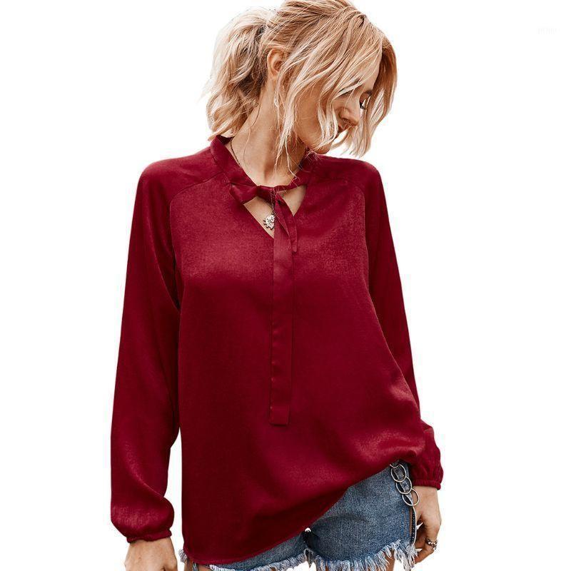 Mulheres outono mangas compridas blusa sexy v-pescoço solto tops gravata camisa casual1