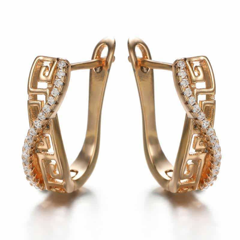 Moda classico Hollow Geometric Stud Orecchino intarsiato cristallo di alta qualità rame femminile orecchini zirconi per gioielli donna