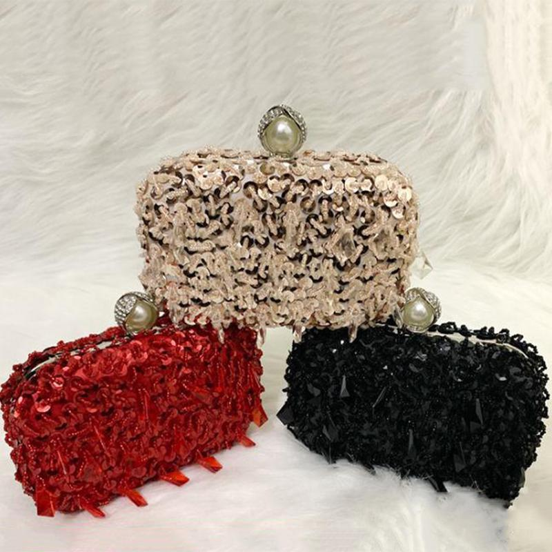 Neue ankunft schwarz 3 farben pailletten perlen frauen abend geldbörse funkelnd damen party prom umhängetasche crossbody mini handtaschen