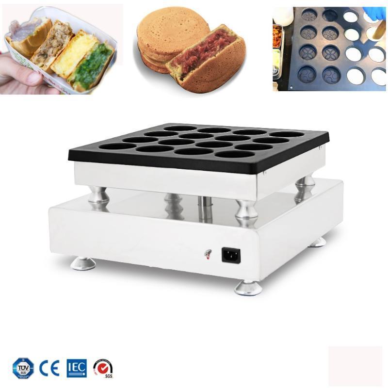 Máquina de bolo de bolo de feijão vermelho Máquina de hambúrguer 16 furos Bolo de roda de feijão vermelho Grill