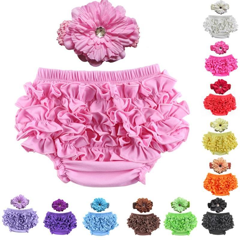2 adet Set Bebek Külot Saten Fırfır Bloomers Bandı Dantel Çiçek PP Külot Kumaş Elastik Yenidoğan Bebek İç Multi Color16Cl G2
