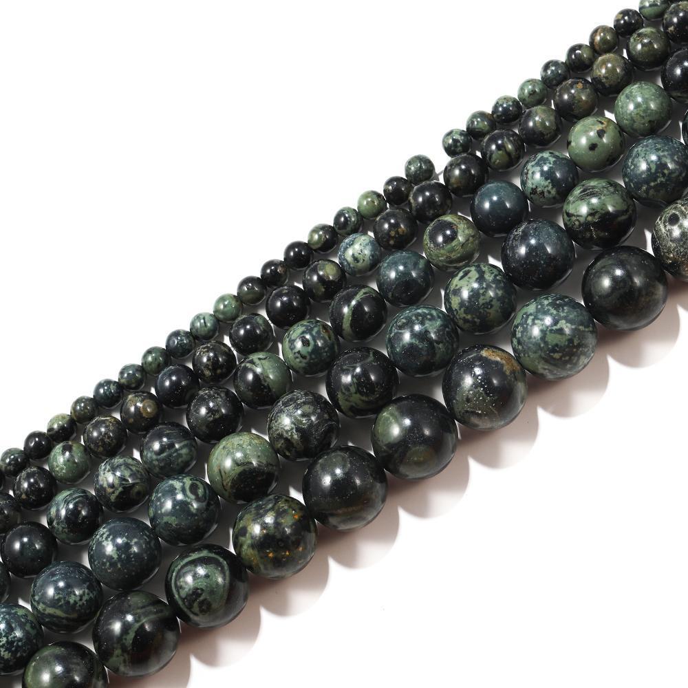 1Strand Lot 4 6 8 10mm Natürliche grüne Malachit Stein Runde Lose Spacer Perle für Armband Schmuck Herabsetzer Wholesale H WMTMBE