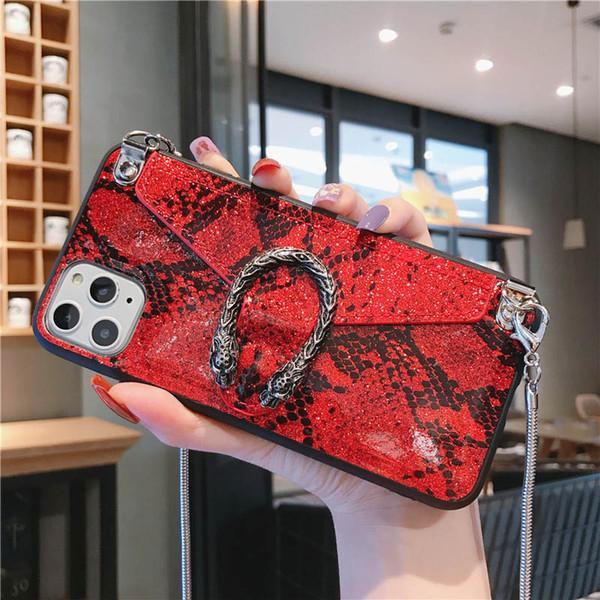 Portafoglio di lusso con custodia per cellulari di lusso per iPhone 12 11 PRO XR 7 Samsung S20 Ultra con cordino a catena Copertura stilista