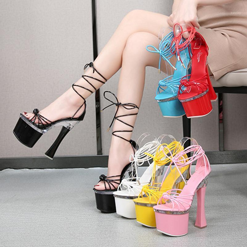 Большой размер 43 Высокие каблуки Женщины Новый 2021 Летняя открытая корейская версия небольшого свежих диких слов кружева 17см Stiletto1