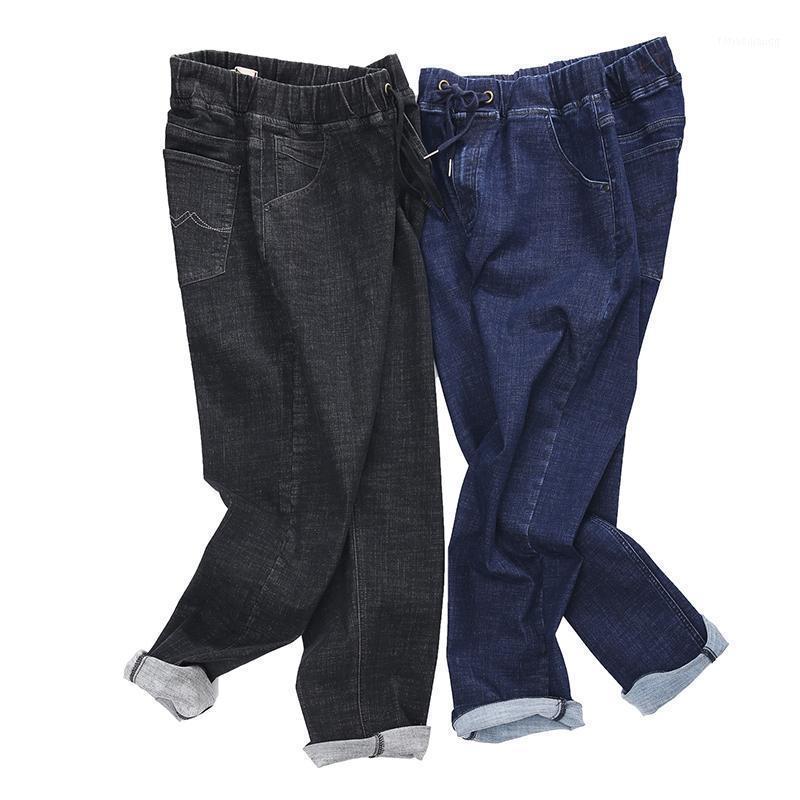 Плюс Размер 44 46 48 50 52 Новые мужские Повседневные растягивающие джинсы Высокое Качество Бизнес Большой Размер Дэнинг Брюки Мужские Брюки Брэнд1