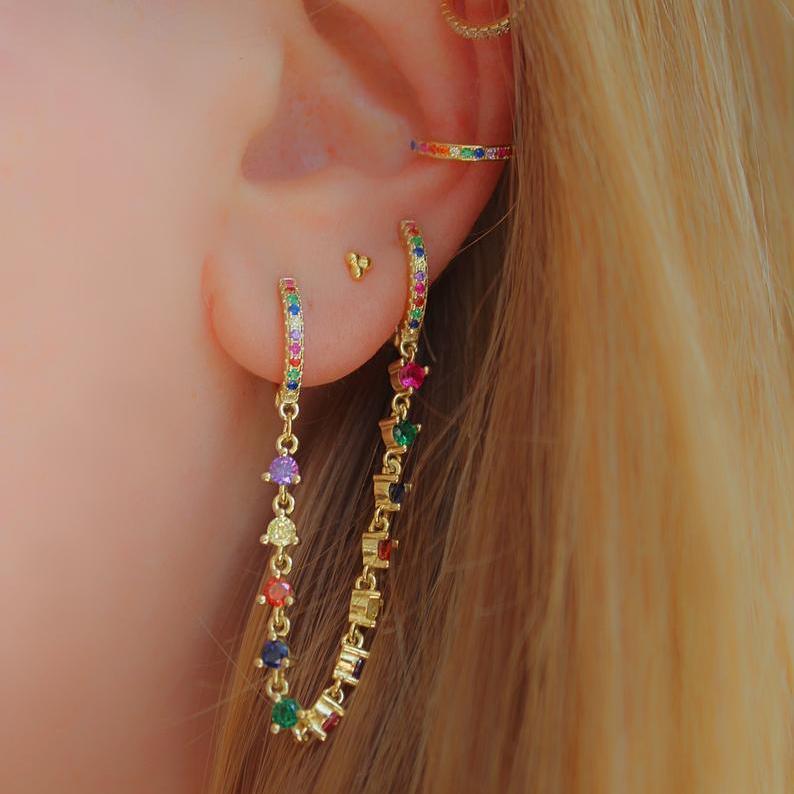 Quaste Kette Ohrring mit CZ Mini-Reifen vergoldet Mode Europäische Frauen Damen Wunderschöne Mode Trendy Ohrringe Schmuck