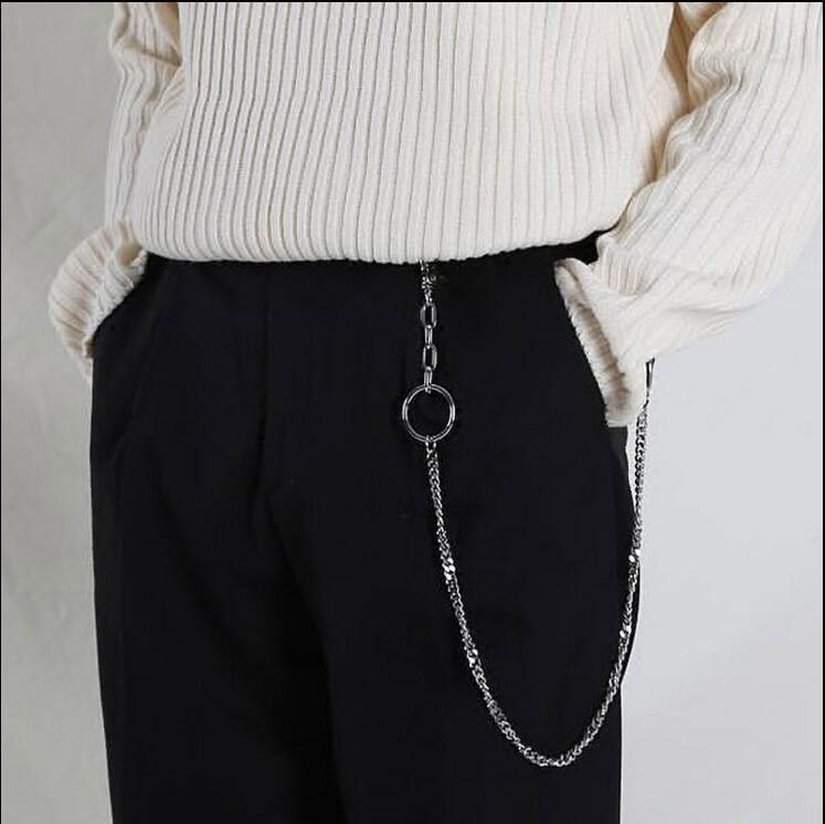 Pantolon Bel Moda Kemer Punk Erkek Hip-Hop Trendy Zincir Sıcak Erkekler Kadın Kot Gümüş Metal Giyim Giyim Aksesuarları Ey16