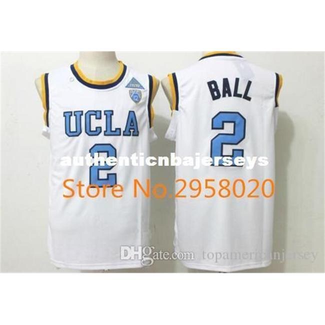 Billig benutzerdefinierte ucla bruins # 2 lonzo ball weiß blau genäht college universität basketball jersey