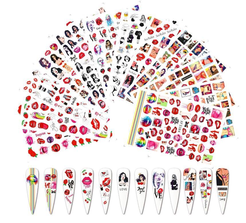 عيد الحب مسمار الفن الشارات مثير الشفاه الحب ملصقات الأظافر للفتيات مسمار الفن الجمال