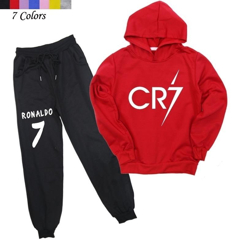 Novas chegadas meninos meninas moda hoodies e calças crianças o ronaldo cp7 algodão moletom calça casual 20126